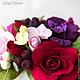 """Интерьерные композиции ручной работы. Букет цветов """"Deep Red"""". Tanya Flower. Ярмарка Мастеров. Интерьерная композиция, розы, листья"""