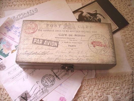 """купюрница-шкатулка """"старые письма"""" \r\nдля денег, купюр\r\nсерый, винтаж, ретро, память\r\nподарок мужчине, мужу, папе, коллеге\r\nподарок на 23 февраля, юбилей"""