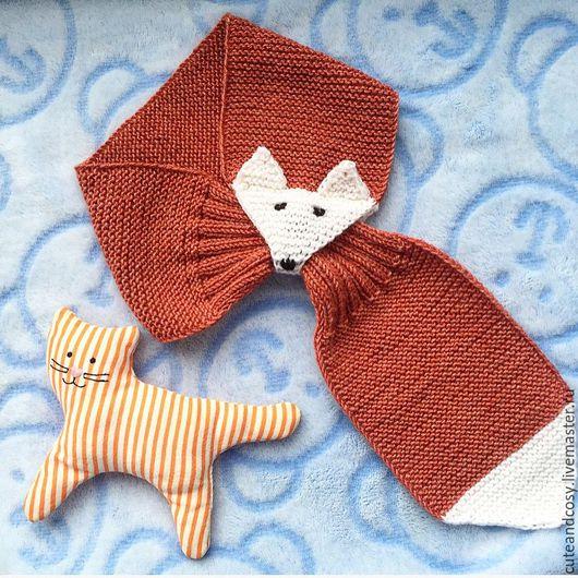 Одежда унисекс ручной работы. Ярмарка Мастеров - ручная работа. Купить Детский шарф лисичка. Handmade. Рыжий, шерсть 100%