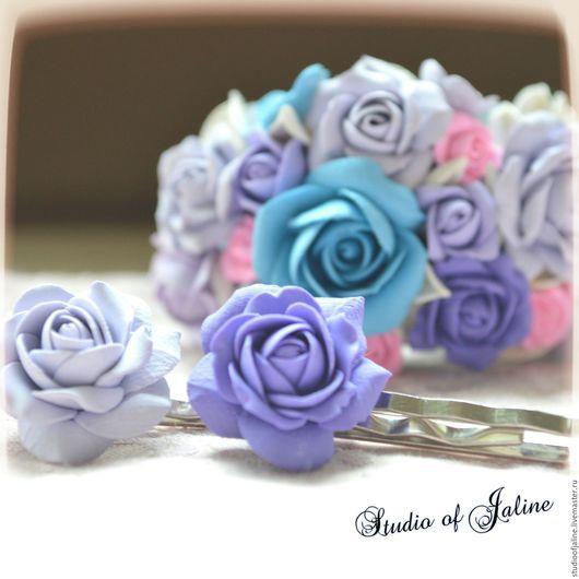 """Заколки ручной работы. Ярмарка Мастеров - ручная работа. Купить Набор """"Розовый сад"""". Handmade. Романтичный стиль, полимерная глина"""