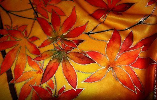 """Шали, палантины ручной работы. Ярмарка Мастеров - ручная работа. Купить Шейный платок батик """"Японский клен"""". Handmade. Рисунок"""