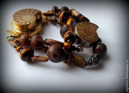 """Браслеты ручной работы. Ярмарка Мастеров - ручная работа. Купить браслет """"Миллион лет до нашей эры"""". Handmade. Коричневый, латунь"""