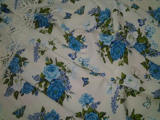 """Шитье ручной работы. Ярмарка Мастеров - ручная работа. Купить Штапель вискозный """"Голубые розы, сирень и бабочки"""". Handmade. Комбинированный"""