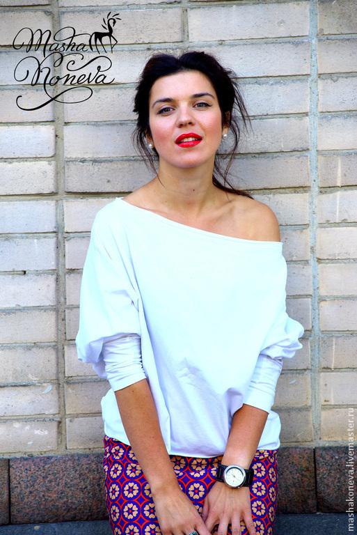 Блузки ручной работы. Ярмарка Мастеров - ручная работа. Купить Романтичная белая блуза-майка. Handmade. Белый, летучая мышь
