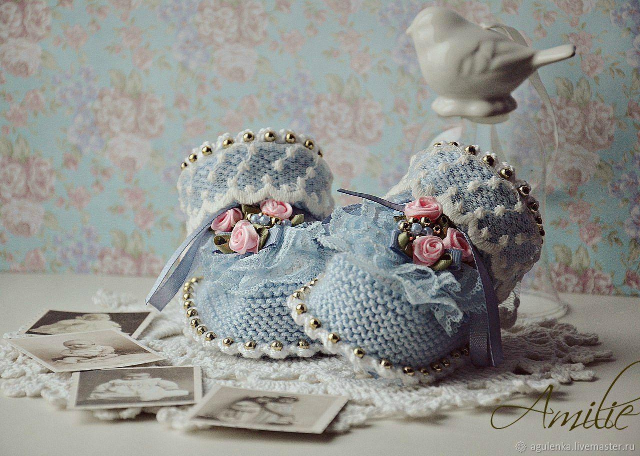 Вязаные пинетки ручной работы в стиле РЕТРО, голубой, Пинетки, Петрозаводск,  Фото №1