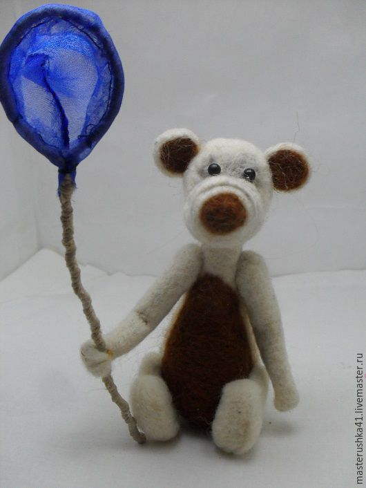 Игрушки животные, ручной работы. Ярмарка Мастеров - ручная работа. Купить Мишка с сачком. Handmade. Белый, ножки, хвостик, фатин