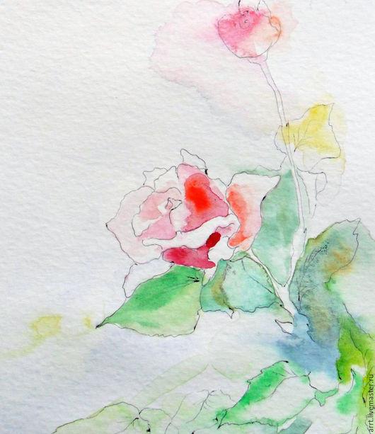 Открытки для женщин, ручной работы. Ярмарка Мастеров - ручная работа. Купить Розочка Акварель 13х18 см. Handmade. Цветы картины