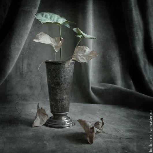 Фотокартины ручной работы. Ярмарка Мастеров - ручная работа. Купить натюрморт Травиата. Handmade. Серый, салатовый, бежевый, листья, бокал