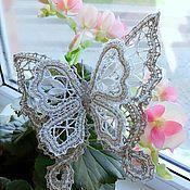 Брошь-булавка ручной работы. Ярмарка Мастеров - ручная работа Кружевная брошь - бабочка. Handmade.