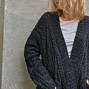 Одежда handmade. Livemaster - original item Stylish Cardigan Black Cardigan Alpaca Cardigan Luxury. Handmade.