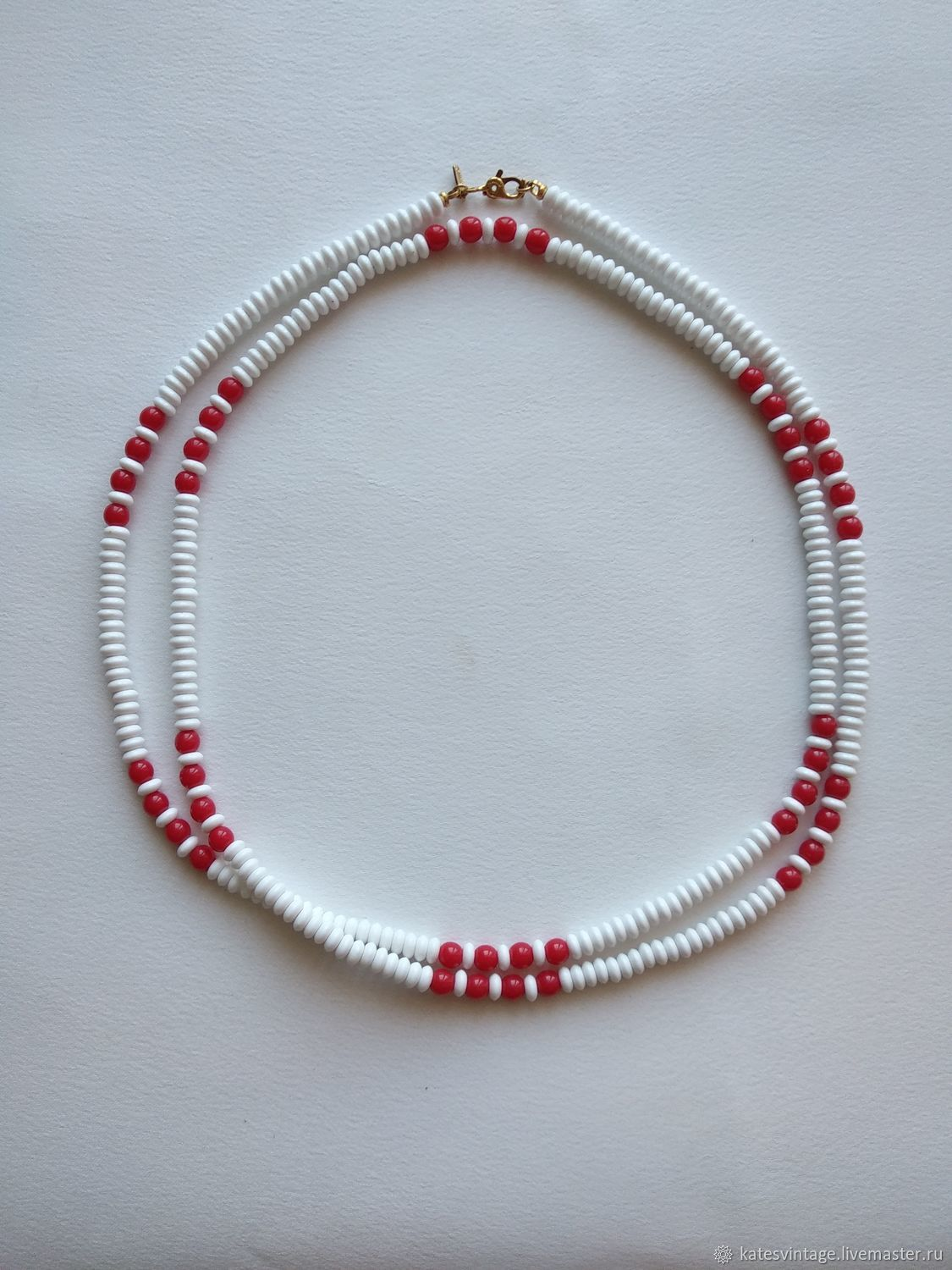 Necklace made of Beads Vintage Monet Long Beads white Red choker, Vintage necklace, Astrakhan,  Фото №1