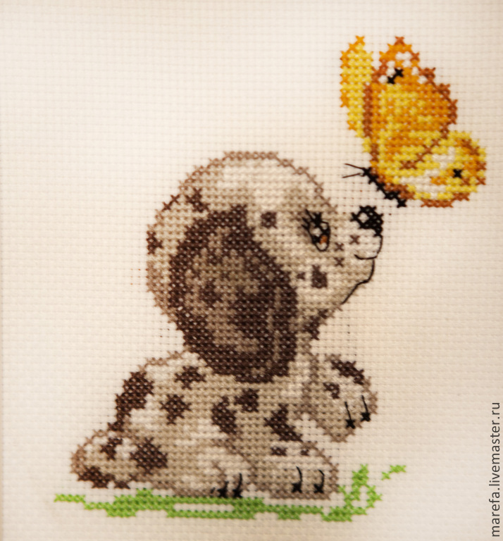 Вышивка для детей с бабочкой