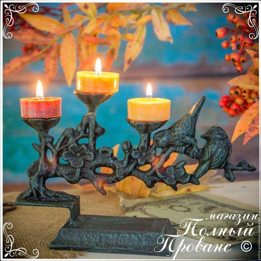 Декупаж и роспись ручной работы. Ярмарка Мастеров - ручная работа. Купить Подсвечник 14357 Цветущая ветвь, на три свечи. Handmade.