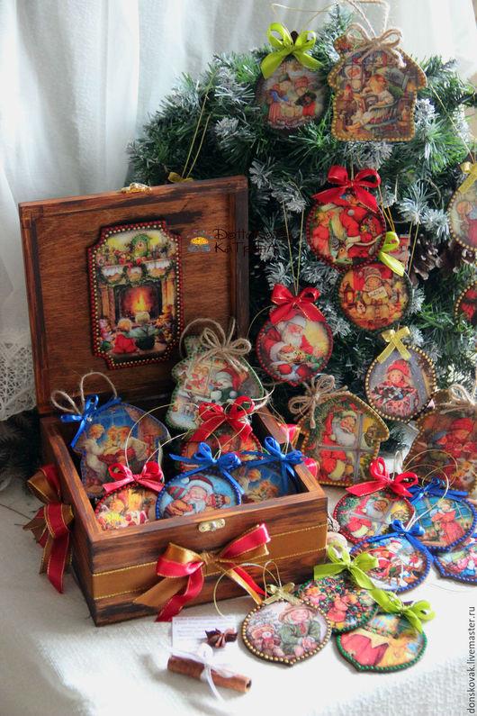 """Новый год 2017 ручной работы. Ярмарка Мастеров - ручная работа. Купить Набор игрушек в коробе """"Забавные детки"""". Handmade."""
