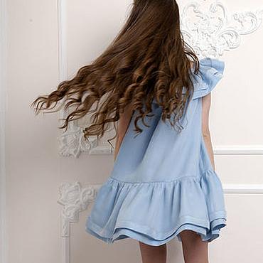 """Одежда ручной работы. Ярмарка Мастеров - ручная работа Платье """"Небесное"""" из натурального шелка. Handmade."""