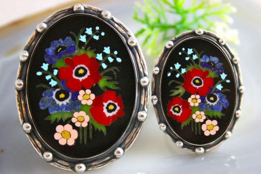"""Кольца ручной работы. Ярмарка Мастеров - ручная работа. Купить Кольцо """"Лето"""" - флорентийская мозаика, серебро. Handmade."""
