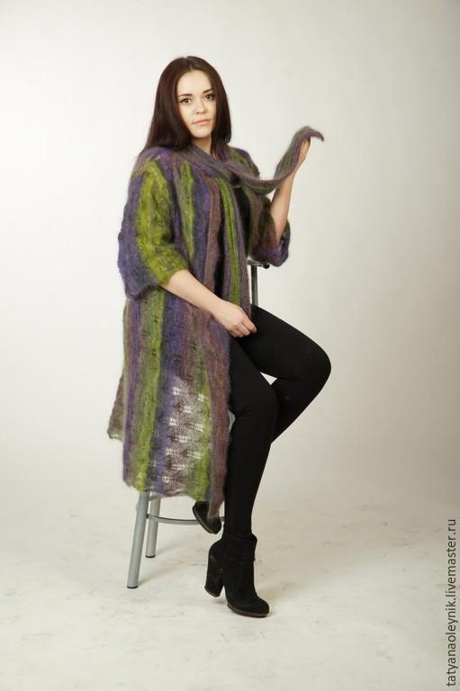 Верхняя одежда ручной работы. Ярмарка Мастеров - ручная работа. Купить Мохеровое вязаное пальто. Handmade. Разноцветный, мохеровое пальто