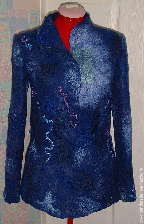 Пиджаки, жакеты ручной работы. Ярмарка Мастеров - ручная работа. Купить Жакет из шерсти Синева. Handmade. Синий, войлок