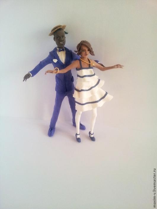 Статуэтки ручной работы. Ярмарка Мастеров - ручная работа. Купить Свадебная пара. Handmade. Васильковый, пара, Танцовщица, бархатный пластик