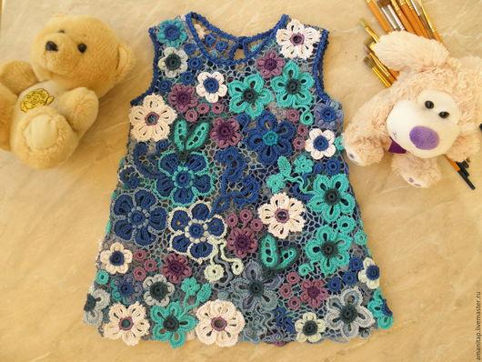 Одежда для девочек, ручной работы. Ярмарка Мастеров - ручная работа. Купить Платье для девочки Мои ситцы ирландское кружево детское вязание. Handmade.