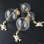 Украшения handmade. Livemaster - original item Earrings and pendant Crab lampwork glass balls in a marine style. Handmade.