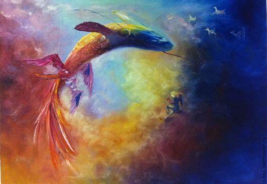 Фантазийные сюжеты ручной работы. Ярмарка Мастеров - ручная работа. Купить Картина маслом - летающая рыба. Handmade. Детские картины