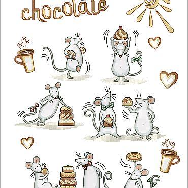"""Материалы для творчества ручной работы. Ярмарка Мастеров - ручная работа Схема для вышивки """"О, шоколад!"""". Handmade."""