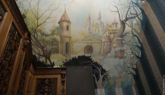 Декор поверхностей ручной работы. Ярмарка Мастеров - ручная работа. Купить Роспись в библиотеке Замок. Handmade. Комбинированный, роспись в библиотеке