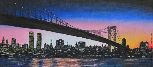 Город ручной работы. Ярмарка Мастеров - ручная работа. Купить Бруклинский мост. Handmade. Разноцветный, картина для интерьера, дизайн, масло