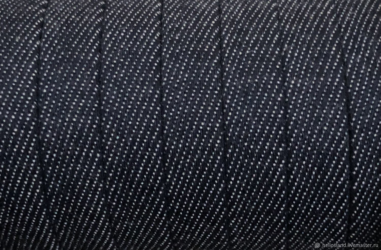 Джинсовый шнур плоский 10 мм темно-синий, Шнуры, Москва,  Фото №1