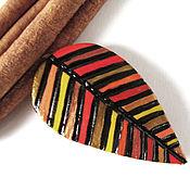 """Украшения ручной работы. Ярмарка Мастеров - ручная работа """"Осень со мной"""", брошь-лист (красный, коричневый, бронзовый, листья). Handmade."""