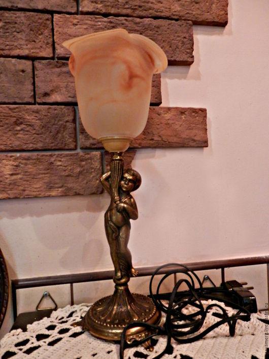 Винтажные предметы интерьера. Ярмарка Мастеров - ручная работа. Купить Старинная латунная лампа подсвечник 2. Handmade. Лампа, свет