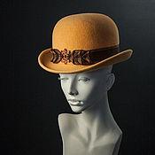 Аксессуары ручной работы. Ярмарка Мастеров - ручная работа Фетровая шляпа котелок Абрикосовый джем. Handmade.