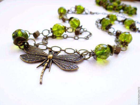 колье, браслет, кварц, бабочка, сотуар,  украшение, весна, зеленый, стрекоза, комплект из камней