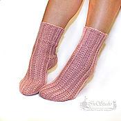 Носки ручной работы. Ярмарка Мастеров - ручная работа Носки вязаные шерстяные женские Розовая пудра. Handmade.