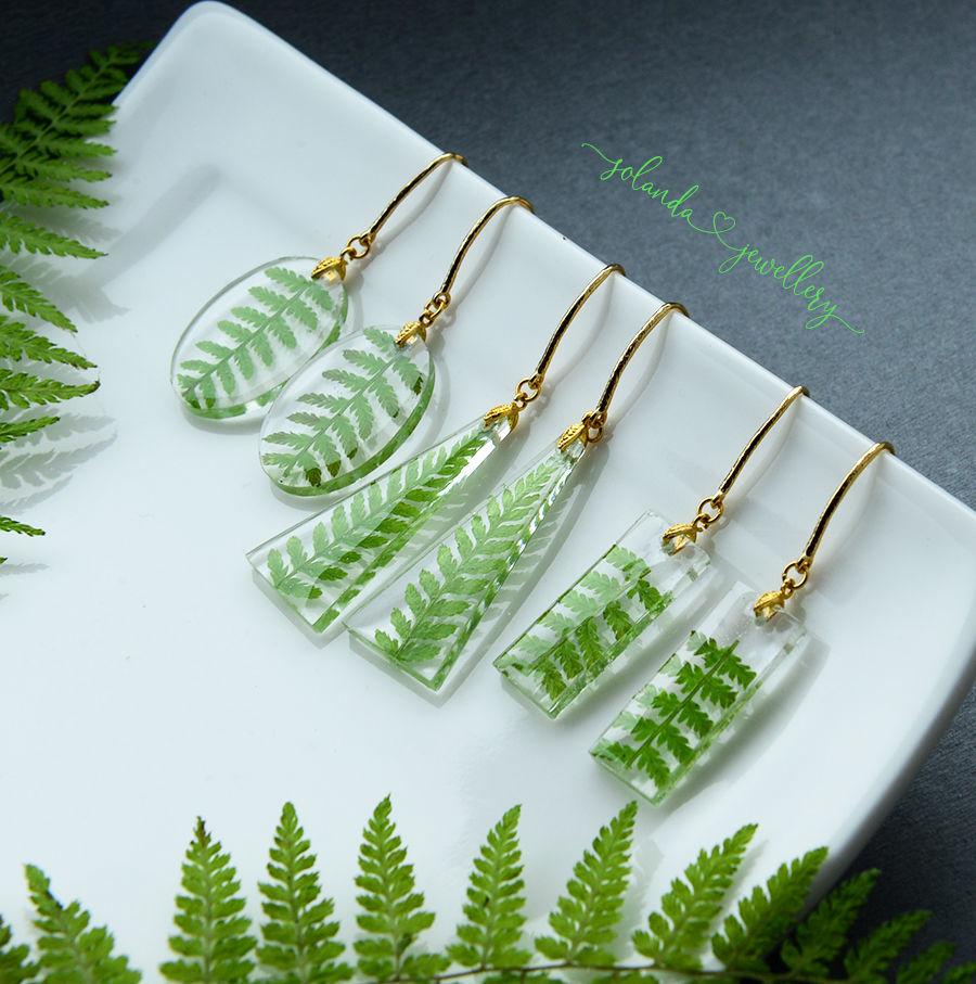 Gold plated fern earrings, Earrings, Moscow,  Фото №1