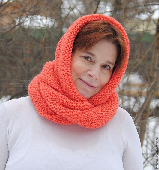 """Шарфы и шарфики ручной работы. Ярмарка Мастеров - ручная работа. Купить Снуд-шарф  """"Настурция""""  ( полушерсть). Handmade. Оранжевый"""