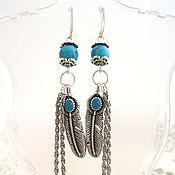 Украшения handmade. Livemaster - original item Turquoise earrings Owl Feather. Handmade.