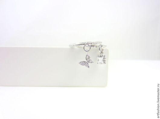 Кольцо от Марии Гербст  Лилу. Кольцо авторское серебряное Лилу с подвесками. Кольцо серебряное двойное с камнем `Лилу`