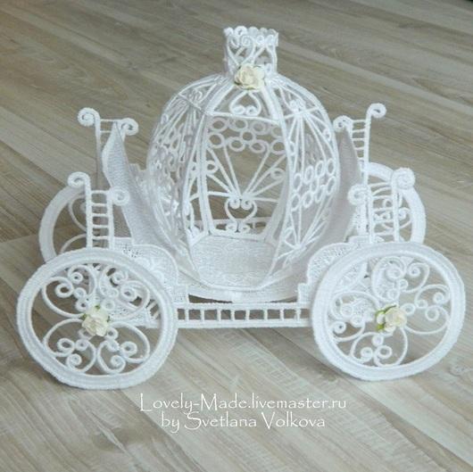 Миниатюрные модели ручной работы. Ярмарка Мастеров - ручная работа. Купить Карета кружевная белая объемная. Carriage lace. Handmade.