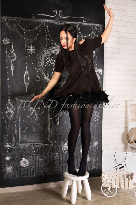 Платья ручной работы. Ярмарка Мастеров - ручная работа. Купить Платье с перьями 00194. Handmade. Черный, перья, blind