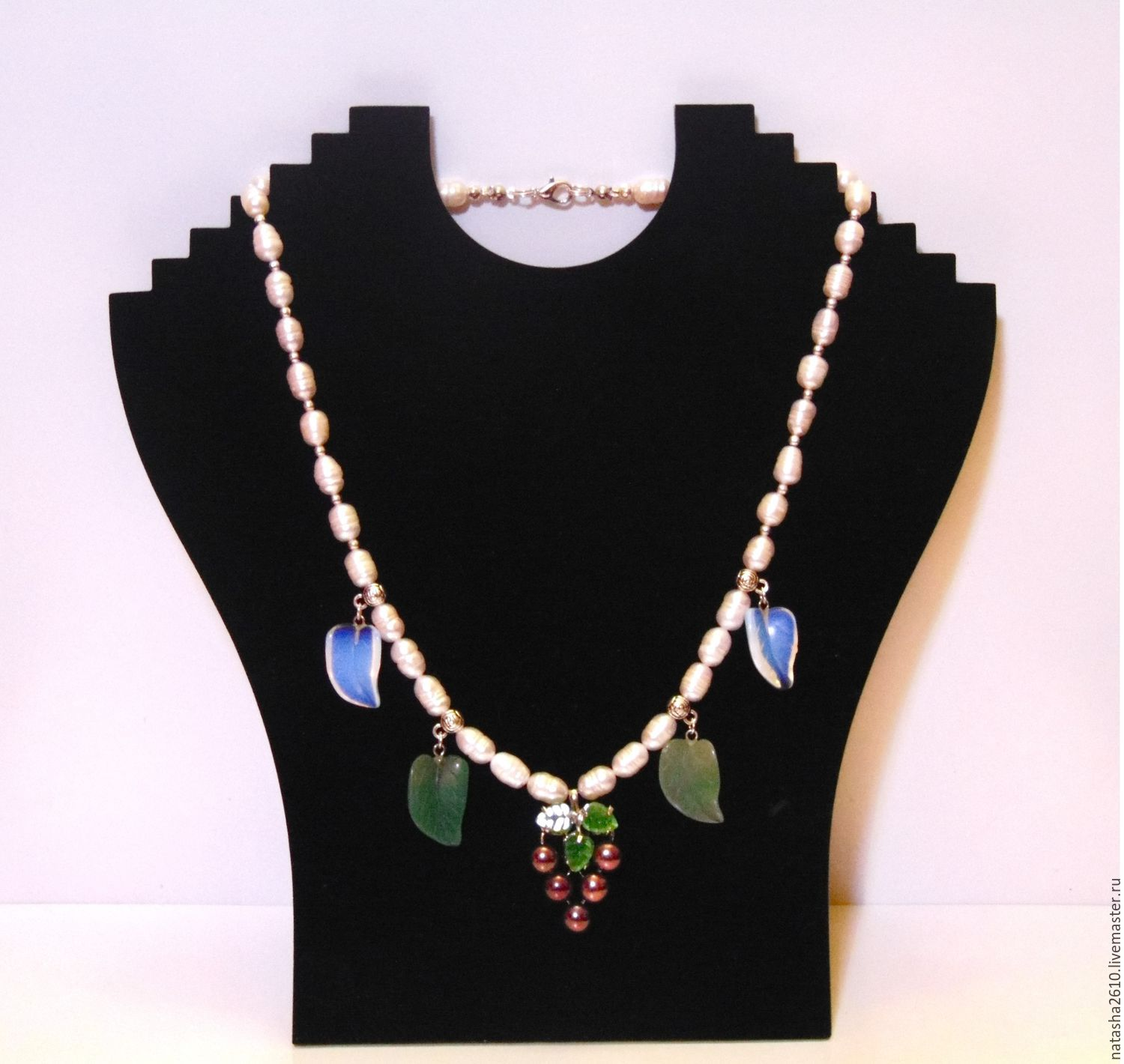 Pearl necklace with aventurine and aplicom, Necklace, Velikiy Novgorod,  Фото №1