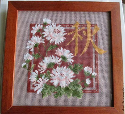 """Картины цветов ручной работы. Ярмарка Мастеров - ручная работа. Купить Вышитая картина """"Хризантемы"""". Handmade. Вышивка крестом, риолис"""