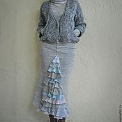 Одежда ручной работы. Ярмарка Мастеров - ручная работа Вязаная юбка годе с оборками серо-голубая. Handmade.