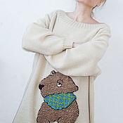 Одежда ручной работы. Ярмарка Мастеров - ручная работа Светлый джемпер с бурым медвежонком 2. Handmade.