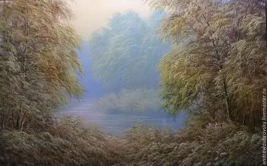 Пейзаж ручной работы. Ярмарка Мастеров - ручная работа. Купить Туманное утро. Handmade. Лес, картина, холст