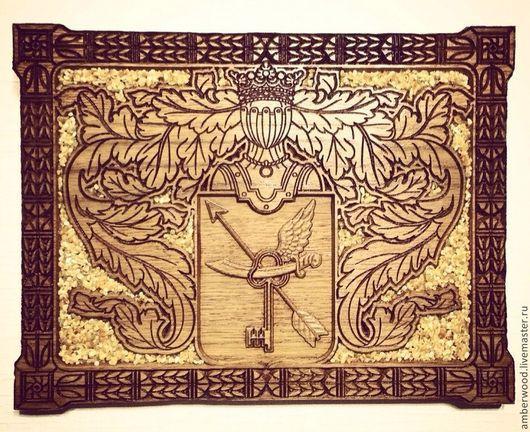 Сувениры ручной работы. Ярмарка Мастеров - ручная работа. Купить Фамильный Герб. Handmade. Желтый, янтарь, фамилия, панно, резьба