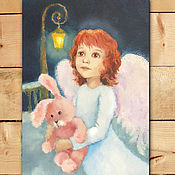 Открытки handmade. Livemaster - original item Greeting card angel with Bunny. Handmade.