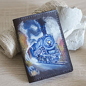 Канцелярские товары handmade. Livemaster - original item Leather wallet, cover for documents with a pattern. Handmade.