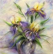 Картины и панно handmade. Livemaster - original item Picture from the wool of Violet-blue. Irises. Handmade.